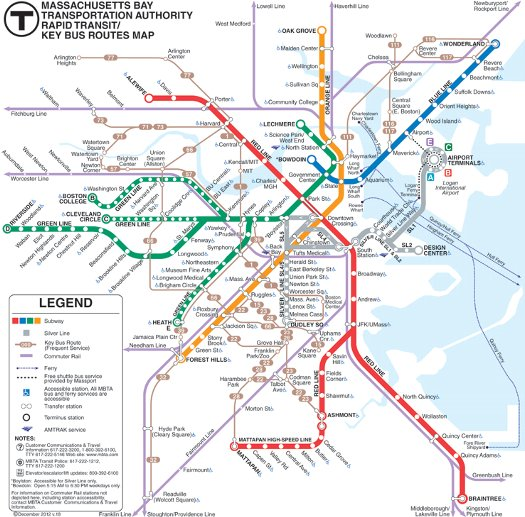 ボストンの地下鉄路線地図