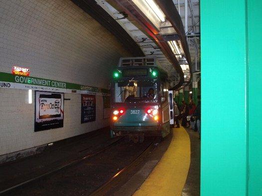 ボストンの地下鉄グリーンラインの電車外観