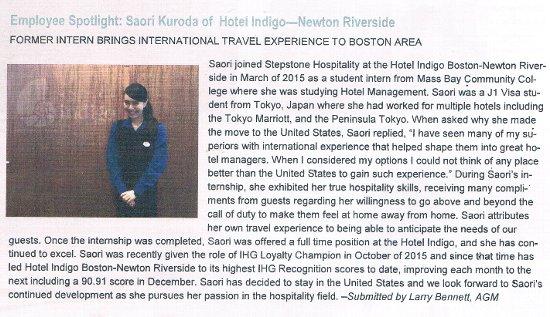 インターン先のホテルの社内新聞で紹介されました。