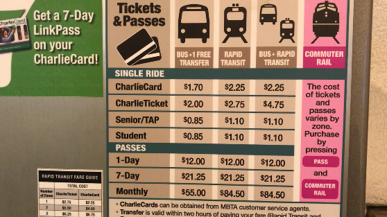 ボストンの地下鉄の価格表