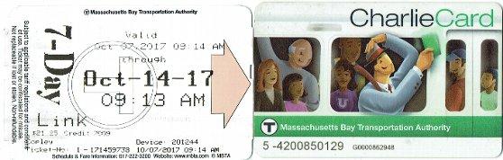ボストンの地下鉄で利用できるチャーリーカードのサンプル