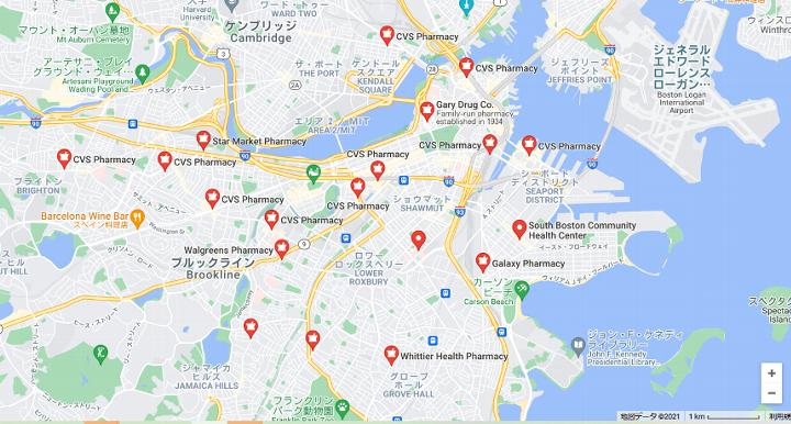 ボストンのコロナワクチン接種の会場の地図